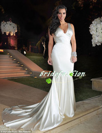 Sexy Celebrity New Arrival V-Neck Kim Kardashian Mermaid Trumpet Prom Gowns Court Train Dresses Evening Dresses