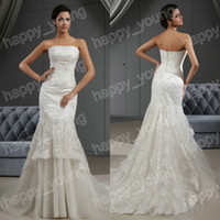 Trumpet/Mermaid Model Pictures Strapless Real Samples Mermaid Wedding Dresses 2014 with Strapless Lace Appliques Ruffles Wedding Gowns Chapel Train Trumpet Dresses
