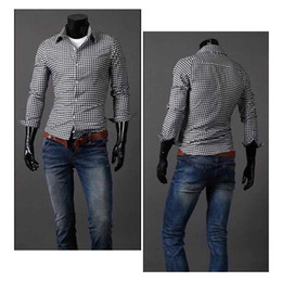 Wholesale S5Q Men s Casual Slim Fit Plaid Cotton Shirt Stand Collar Long Sleeve AAACQD