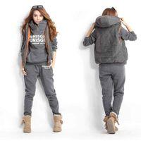 Pullover sport hoodies - S5Q Autumn Winter Women s Casual Sports Hoodies Coat Vest Pants Suit Tracksuit AAACQI