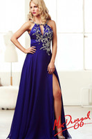 Model Pictures Halter Chiffon Long Prom Gown Dazzling Crystal Halter Greek Goddess Sexy Open Back Purple Party Prom Dresses Evening Formal Gown 2014 New Design ED1929