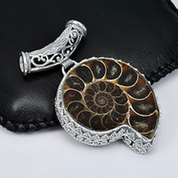Free Shipping- - Cool Men Jewelry Cute Snail Natural Ammonite ...