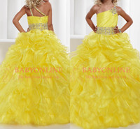 Wholesale One shoulder Beaded Crystal Organza Ruffles Sash Belt party formal occasion ball gown Flower girl pageant dresses Princess