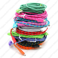 Wholesale 3M Braided USB Charger Cable For Smartphone Mobile Phone FT Fabric Nylon Micro Data Sync Charging Cord