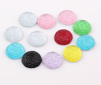 Wholesale 20mm Round Shape Flat Back Resin beads DIY Decoration Pave Resin Crystal Flatback Beads Charms For Iphone ZBE131