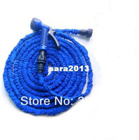 Wholesale 1 piece FT Blue color Expandable Garden Hose and spray gun TPE TPR latex