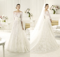 Wholesale Elie Saab Empire Wedding Dresses Lace cathedral Train with Long Sleeves Hollow with Hand Made Flower Aqqlipues Sash Plus Size Cheap