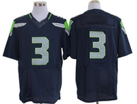 Wholesale Elite Seahawks Russell Wilson Football Jerseys Pro Bowl Quarterbacks Jerseys Navy Blue Stitched High Quality Cheap Sports Jerseys