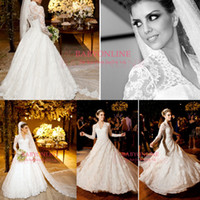 Wholesale 2014 New Design Vestidos De Noiva White Long Sleeves High Collar Vintage Lace A Line Bridal Gown Winter Wedding Dresses BO3590