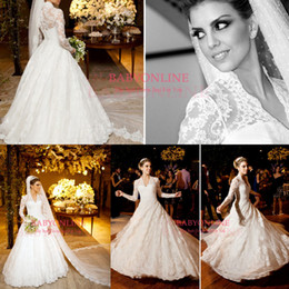 Wholesale Cheap Vestidos De Noiva Wedding Dresses White Winter Long Sleeves High Collar Vintage Lace A Line Bridal Gown Plus Size Dresses BO3590