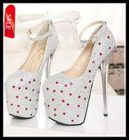 Wholesale 2014 New Luxury Diamond Studded Prom Gown Ankle Strappy Shoes Wedding Bride Super High Platform Silver Gold cm Heels ePacket