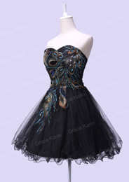 Wholesale Hot Embroidery Peacock Pattern Beaded Prom Dresses Ball Gown Sweetheart Short Tulle Party Dress Sequins Dress CL4975