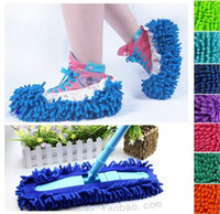 Wholesale Multifunction Mop Shoe Cover Dusting Floor Cleaning Slipper Lazy Housekeeper Car Clean Chenille Hot