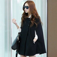 Wholesale fashion autumn and winter medium long woolen cloak overcoat jacket black loose outerwear women coat