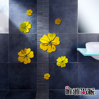 Wholesale Flowers Decorative Mirror Glass Wall Stickers Creative Design Wall Art Decal Wall Decoration