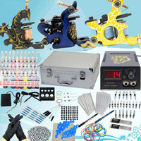 Wholesale USA Warehouse Starter Tattoo Kit Sets Machine Guns Inks Needles Power Tips Grips Equipment Supplies for tattoo Beginners K058X