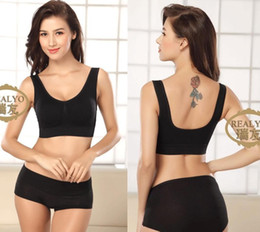 Wholesale 3pcs Fashion Sexy Women Genie and Seamless Bra Sport Casual Vest Wide Shoulder Straps Double Layers with Pads