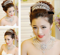 Wholesale Fashion Wedding Bridal Lady Crystal Rhinestone Pearl Headband Beaded Princess Tiara Hair Accessories Earrings Necklace Jewelry Set Supplier