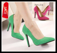 Wholesale 2014 Women s Chic Basic Pointed Toe Heel Pumps Sexy Green Fuchsia Synthetic Suede High Heel Dress Shoes Size to ePacket