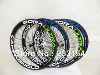 Wholesale 2014 New Campagnolo Bora Ultra Two Tubular Clincher Carbon Green Blue Wheels Carbon Road Bike Bicycle Wheelset