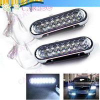 2012 2729# LED 5pcs Lot New Grille White Universal Aux 6 led 2x Car Truck Daytime running light Fog lamp 2729