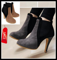 Cheap Sexy Women's Boots Trendy New Patchwork Grey Brown Stiletto High Heel Ankle Boots Christmas Sale Size 34-39 ePacket Free Shipping