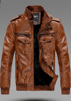 Wholesale china size Men s Locomotive Leather PU Jacket Coat Thickening Fur Outerwear Slim Winter Jacket Brown M XXXL