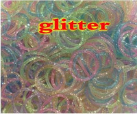 Wholesale 2014 New Christmas Gift Rainbow Loom Colorful DIY loom beads glitter powder rubber band Hook S Clips in stock