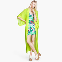 Wholesale lemon yellow kimono style dressing gown long loose chiffon shirt Abib