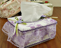 Wholesale Tissue Boxes Napkins European lace fabric tissue boxes Home Car tissue boxes decoration