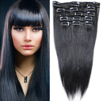 Wholesale 100 Human Clip on Hair g Brazilian Remy Straight Hair Clip in Hair Extensions Jet Black Long inch DHL