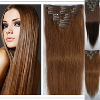 Wholesale 2015 Sexy set Human Hair Extension Clip on Hair Remy Brazilian Clip in Women Lady Hair Straight JFS1