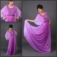 Reference Images Crew Chiffon 2014 Babyonline Long Sleeves Jewel Neck Beaded Purple Chiffon Arabic Dubai Abaya Kaftan Evening Prom Dresses Long Floor Length
