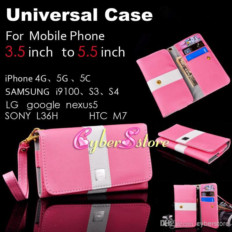 Buy Universal 3.5 inch~5.5 inch Lady Bag Wallet Flip PU leather Case Cover Card Slots iphone 5 5S 5C 4S Galaxy S4 S3 HTC M7 LG Nexus
