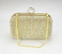 Wholesale Gold Royal Western Women s Lady Fashion Swarovski Silver Crystal Evening Clutch Bag Purse Handbag Shoulder Bag Wedding Bridal Bag Favors