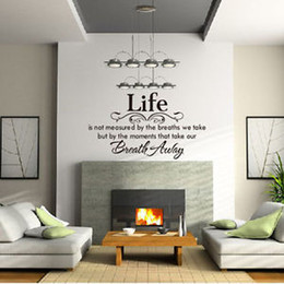 Wholesale Life Breath Quote Lettering words Motto Poem Vinyl Wall Decals Mural Sticker