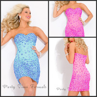 Wholesale Fuchsia Cocktail Dress With Rhinestone Hidden Zipper Mini Light Blue Cocktail Dresses Mini Sheath Party Gowns Homecoming Party Gowns