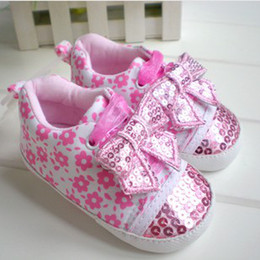 Wholesale 2014 New Girls Walker Shoes Pretty Sequin Bow Lace up Shoes Infant Baby s Flower Printed Princess Shoes