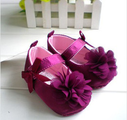 Wholesale 2014 New Infant s Walker Shoes High Grade Elegant Purple Rose Princess Shoes Girls Lovely Bow Silk Shoes