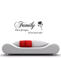 free shipping family where life begins love never ends vinyl lettering wall stickers home decor decals for living room