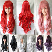 Wholesale S5Q Women Girls Long Curly Full Hair Wavy Wigs For Anime Cosplay Party AAACML