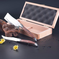Metal+Wood LFGB Stocked Flyingcolors(TL-W013) 2-Piece Cheese Knife Set with Wooden Box