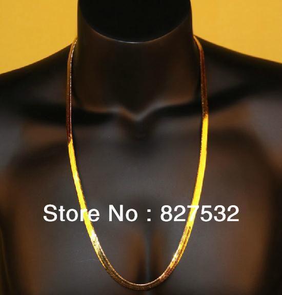 2017 asap rocky fashion necklace gold herringbone chain