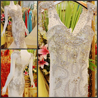 Wholesale Exquisite wedding dress applique sequin bling bling sweep train sexy Wedding Dresses wedding Events Gowns