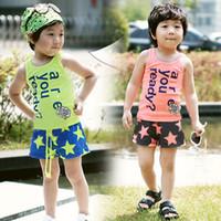 Boy Summer Sleeveless Wholesales 2013 summer new Baby, Kids Clothing Children's boys 2 Sets T-shirt +short pants SS-972