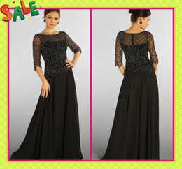 Wholesale 2014 Hot Sale Black Sexy Sheer Straps With Sleeves Beading Jacket Floor Length Mother Of The Bride Dresses Formal Evening Prom Dress