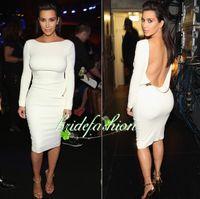 Model Pictures Knee-Length Taffeta On Sale ! Scoop 2014 kim kardashian Dress Long Sleeve Red White Sheath Knee-Lenght celebrity red carpet Prom Dresses Evening Gowns