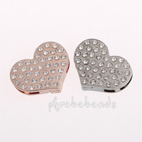 Wholesale Fashion Crystal Magnetic Heart Clasps For Bracelets Making PMC M049
