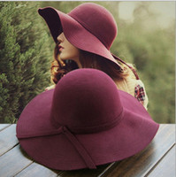 Wholesale Europe fashion women s fedoras for autumn spring winter adults lady woolen hats sun hat womens wide Brim burgundy woolen hats