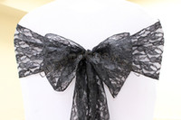 Wholesale 100pcs Top Quality black Lace Chair Sash For Wedding Event amp Party Decoration